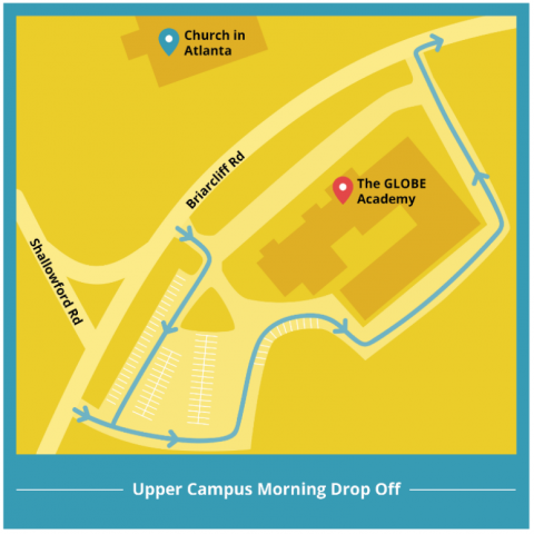 upper campus drop off and pick up map