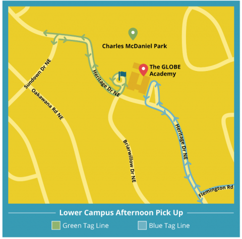 Lower campus afternoon pick up map
