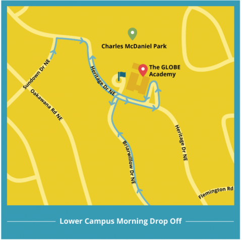 Lower campus morning drop off map